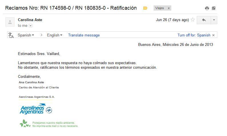 La respuesta final por parte de Aerolíneas Argentinas