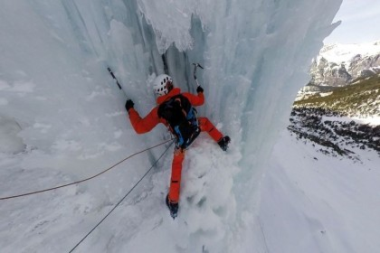 Ice climbing involves the use of ice tools and crampons to climb frozen waterfalls and icicles. Mammut Pro Team athlete Dani Arnold is among the best in the world in this discipline. In March 2015, he tackled the classical 215m high Rubezahl in Kandersteg, Switzerland together with Mammut product manager Fritz Schäfer, and documented the spectacular ice tour in 360°-perspective. (Credit: Mammut/Concept 360) (PRNewsFoto/Mammut Sports Group AG)