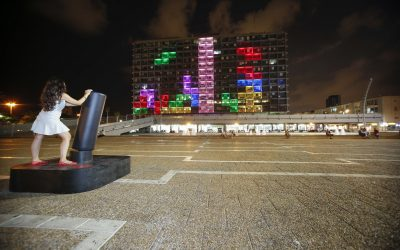 Un Tetris se apoderó del edificio del Municipio de Tel AViv